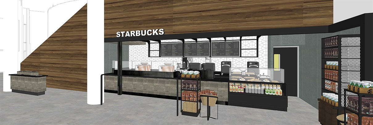 Starbucks facade showing stools and counter