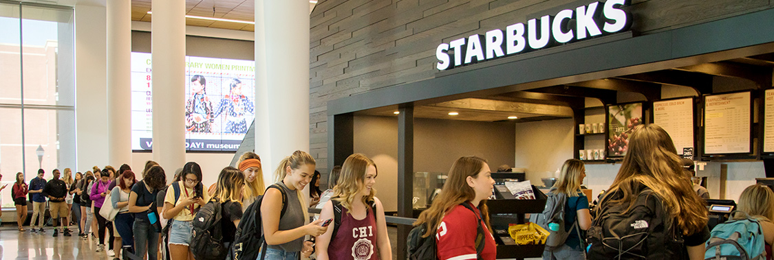 Students in line at Starbucks in The Spark.