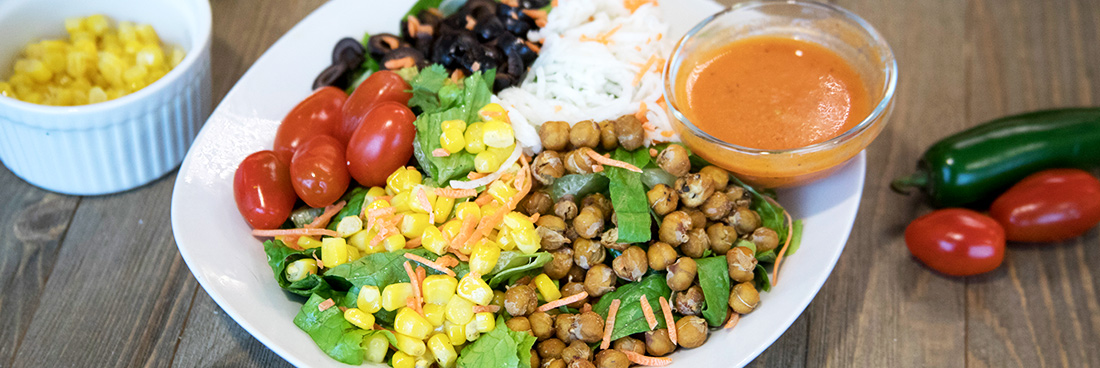A chickpea salad prepared to showcase Less Meat Mondays.